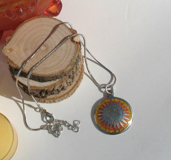 SunBurst  Beautiful pewter and enamel sunburst pendant necklace