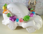 Bright Tropical Colors Guardian Angel, Car Angels, Car Beads, Car Jewelry, Rear View Mirror Beads, OOAK