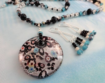 SALE, Glowing Silver And Black Lampwork Pendant Necklace With A Touch Of Turquoise, Matching Earrings, Crystal Glass, Silver, OOAK