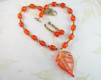 SALE, Fiery Orange With Gold Lampwork Leaf Pendant Necklace And Earrings, Fall Design, OOAK