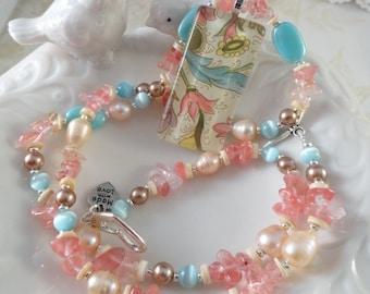 Aqua And Rose Necklace Set Pearls And Rose Quartz Beaded Necklace Aqua Peach Rose Cream Altered Art Glass Pendant Gift For Her JewelryByPJ