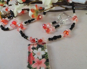 Reds, Pinks And Black Flower Necklace And Earrings, Ruby Luster, Cherry And Rose Quartz, Spring, Summer, OOAK