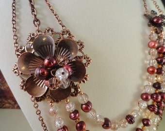 SALE, Copper Filigree Flower With Pearls And Crystal Necklace With Matching Earrings, Fresh Water Pearls, Peach, OOAK