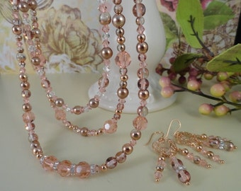 Champagne And Peaches, Rose Gold And Crystal Triple Strand Necklace, Apollo Gold, Padparadscha, Glass Pearls, OOAK