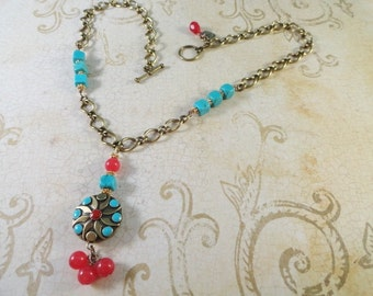 Candy Red Jade, Turquoise And Brass Necklace, Antique Gold Chain, Reversible Brass Pendant Bead, OOAK