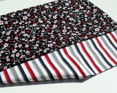Pair of Cherry Blossom Pillowcases - Black, Red and Gray
