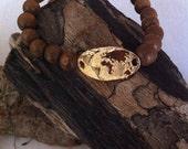 SAND:  Gold Earth on a Wood Bead Bracelet