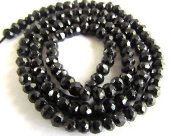 4 MM Black Spinel Faceted Rondells Roundell Beads