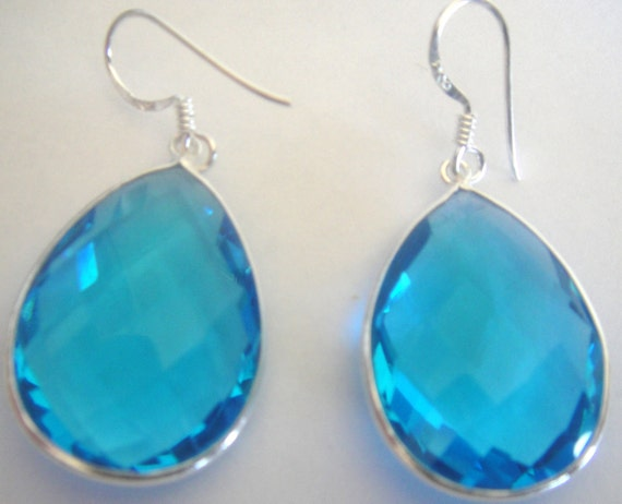 Swiss Blue Quartz  Almond  Faceted  Drops Earrings 92.5 Sterling Silver Smooth Finish Bezel 26 MM X 20 Mm X 7 Mm Thick Hand Made 14