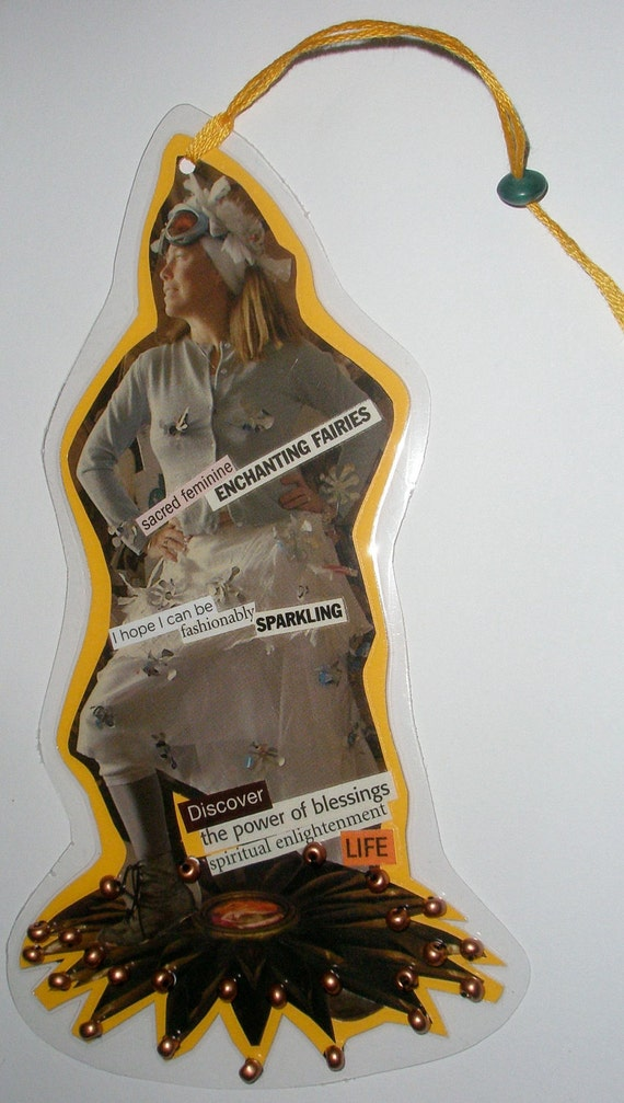 """Paper Collage Bookmark Hangy Thing """"ENCHANTING FAIRIES"""""""