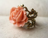 Coral Rose Ring, Cabbage Rose Ring, Coral Ring, Adjustable Ring, Filigree Ring, Vintage Inspired. Pink Ring.