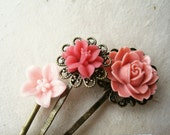 Pink Flower Hair Pins. Pink Hair Accessories. Coral Pink Lily, Peony. Bronze Filigree Bobby Pins Trio. Pink Hair Accessories.