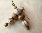 Antique Glass Earrings. Brown Picasso Rondelles, Antique Green Czech Glass & Brass Accents.
