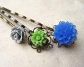 Hair Accessories, Flower Hair Pins. Cobalt Blue Chrysanthemum, Gray Rose, Green Daisy. Antique Brass Filigree Bobby Pins. Summer Fashion.