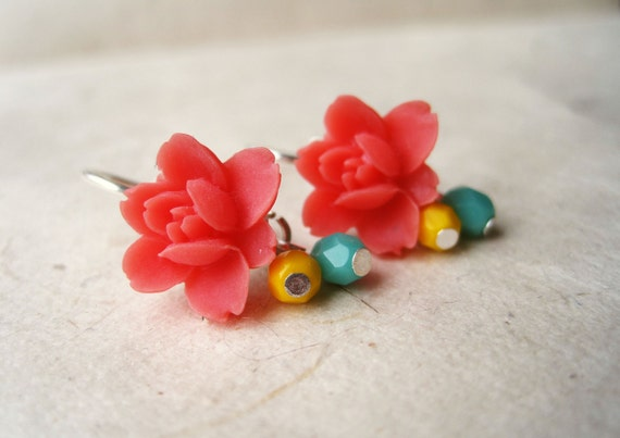 Red Lotus Earrings. Coral Red Earrings with Teal & Yellow Crystals. Small Dangle Earrings. Red Flower Earrings. Resin Flower Earrings. FDE7.