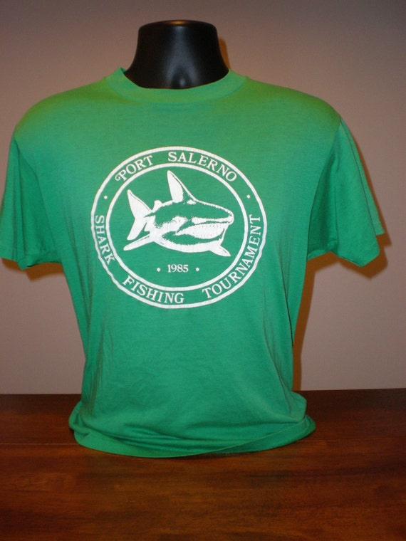 Vintage 1980s shark fishing tournament t shirt port salerno for Tournament fishing shirts