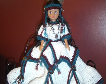 "15"" Handmade Crocheted Indian Princess Doll (Doll stand is included)"