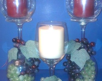 Set of 3 - Glass candle holders with grapes