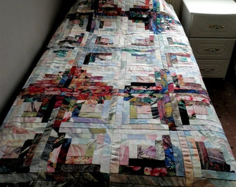 2 single patchwork quilts twin quilts autumn tones in quilts log cabin quilts - Twin Quilts