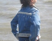 Feminine  Denim Jean Jacket / With Vintage Lace and Beads ...