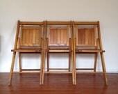 Set of 3 Slatted Wood Folding Chairs