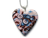 Pendant necklace - pink, brown and blue heart