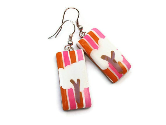 Oblong drop earrings  Hot pink and Orange by KireinaJewellery |  Craft Juice :  pink jewelry gifts tree earrings