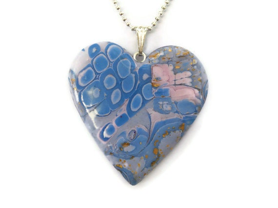 Heart Pendant  Pink and Blue Mokume Gane by KireinaJewellery |  Craft Juice