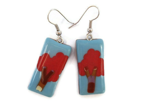 Oblong Drop Tree Earrings  Coral and Turquoise by KireinaJewellery |  Craft Juice :  gifts tree earrings polymer clay graduation