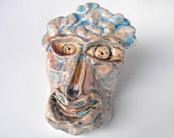Ceramic Head, primitive, primitive art, primitive sculpture, primitive art figure, primitive home decor, primitive sculpture of a head