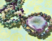 ON SALE Druzy Necklace, Freshwater Pearl Necklace by Amanda Lynne LUXE