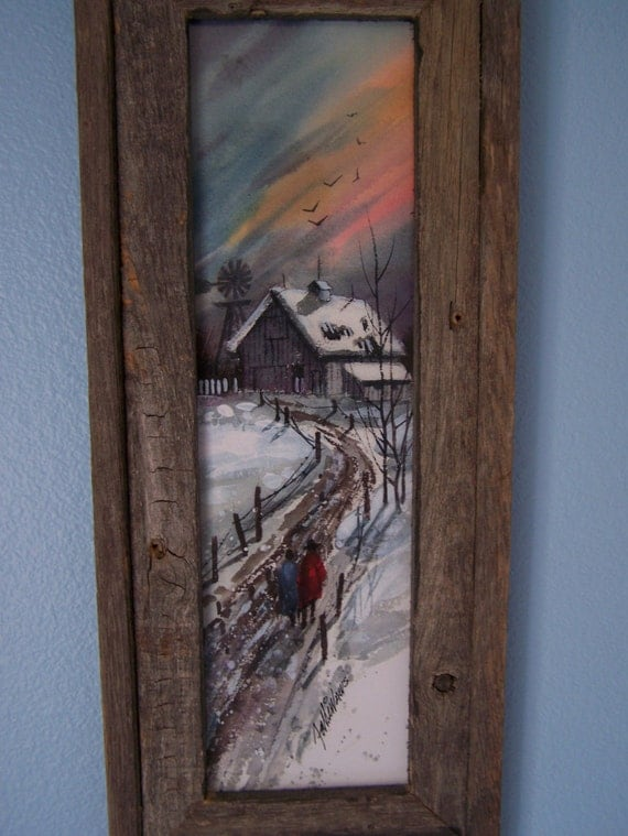 Watercolor Winter Scene with Barnwood Frame