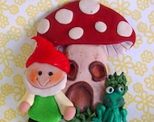 Polymer Clay Christmas Ornament Gnome Elf with Toadstool House Frog