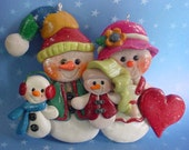 Polymer Clay Christmas Ornament Snow Family Heart Snowman - alongcameaspider1