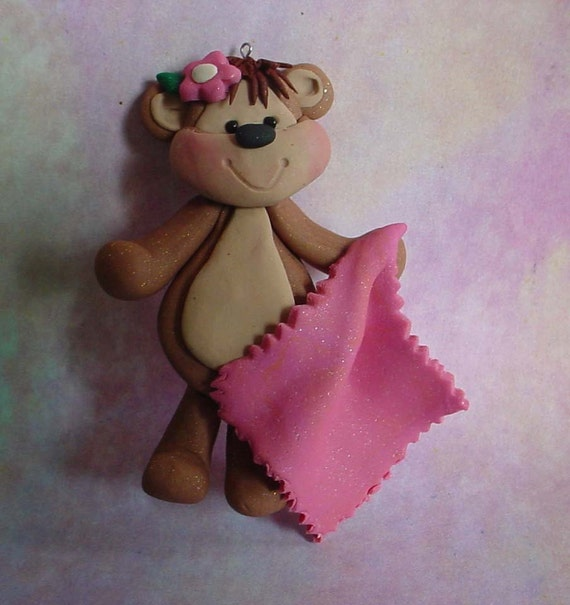 Polymer Clay Milestone/Christmas Ornament  Cake Topper Girl Monkey w Pink Blanket Birthday New Baby