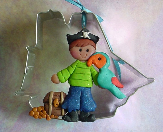Metal Cookie Cutter Polymer Clay Ornament  Pirate Ship Parrot Treasure Chest Decoration