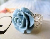 Blue Rose Resin Ring, Delicate Filigree Jewelry