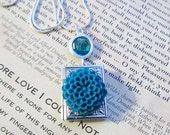 Book Locket Jewelry, Silver Locket Necklace, Turquoise Glass Crystal Jewelry, Delicate Jewelry, Turquoise Blue Resin Flower Necklace