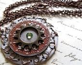Steampunk Jewelry, Steampunk Pendant, Clock Gears, Steampunk Necklace, Gothic Jewelry, Silver Clock Pendant, MetalWork Jewelry