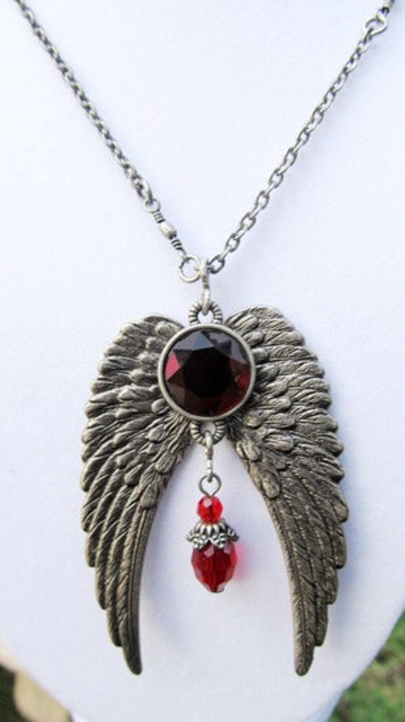 Angel Wing Necklace, Steampunk Jewelry, Antique Silver Necklace, Red Stone Pendant With Angel Wings, Wing Jewelry, Steampunk wings