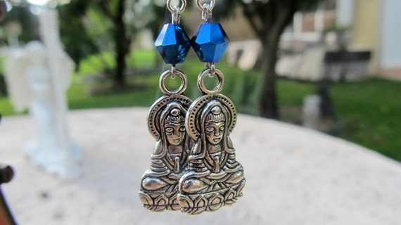 Buddha Earrings, Meditation Jewelry, Silver Buddha, The Lotus Position, Blue Earrings, Zen Jewelry, Yoga Jewelry, Spiritual