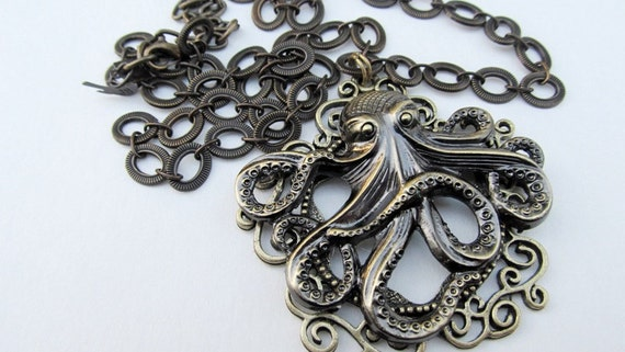 Steampunk Octopus Necklace, 3D Octopus Jewelry, Octopus Pendant, Gothic Necklace, Victorian Style Jewelry