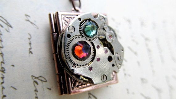 Steampunk Jewelry, Steampunk Necklace, Book Locket, Geekery, Clock Gears, Watch Parts, Vintage Clock Movement
