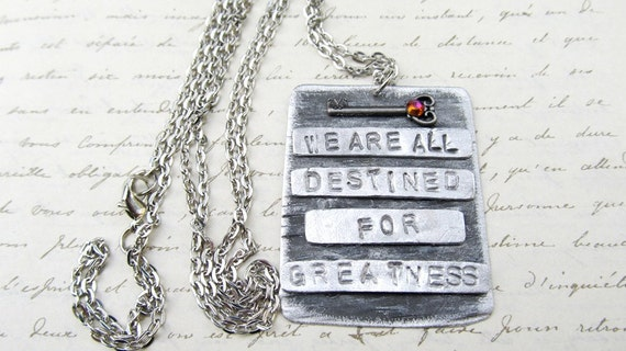 Engraved Quote Necklace, Inspirational Jewelry, Industrial Pendant, Antique Key Necklace, Hand Stamped Pendant, Silver Jewelry