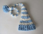 CUSTOM LISTING for lhoeschen --- Newborn baby elf hat in blue and cream with pom-pom