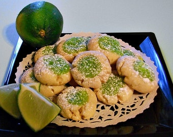 Lime Cookies, Sweet Creamy, Lime Filled, Thumbprint Cookie, Made to Order, Real Lime, Tangy Lime Cookie