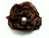 Silky Chocolate Brown Fabric Flower Hair Clip