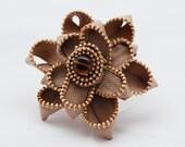 Steampunk Tan Fabric Flower with Gold Metal Zipper Pin/Brooch