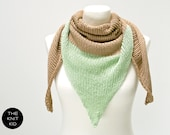 triangle scarf merino cotton beige mint theknitkid