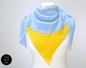 triangle scarf angora mohair cotton sky blue sun yellow the knit kid